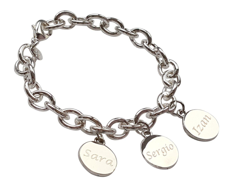 4012620517db Pulsera en plata 925 bolitas y con placa con nombre Joyera en