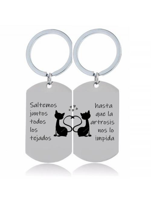 PAREJA DE LLAVEROS PERSONALIZADOS , GATOS ENAMORADOS