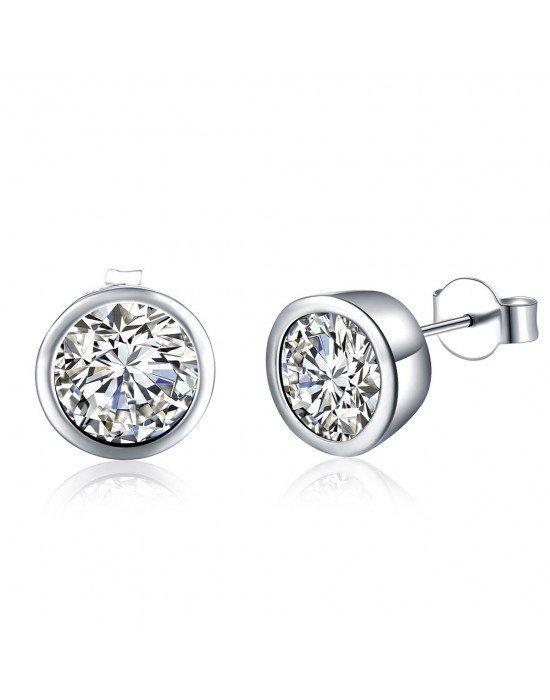 961fa3f36d49 Pendientes chatón plata ♥ Pendientes pequeños plata