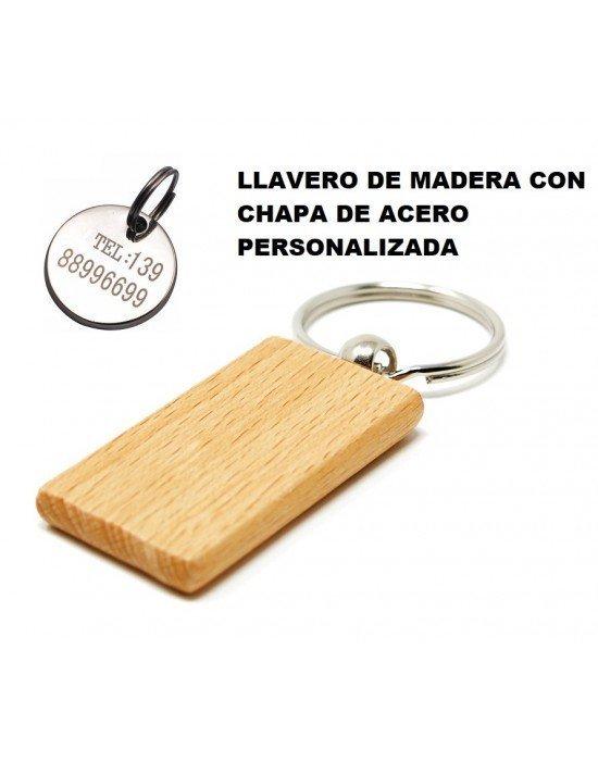 LLAVERO DE MADERA CON CHAPA PERSONALIZADA